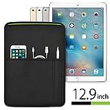 iPad Pro(12.9インチ 2016/2017)用 JustFit? スリーブケース(ブラック&グリーン) Apple Pencil・Lightningケーブル・iPhoneなどが収納出来る2つのポケット付・専用設計だからジャストフィット!