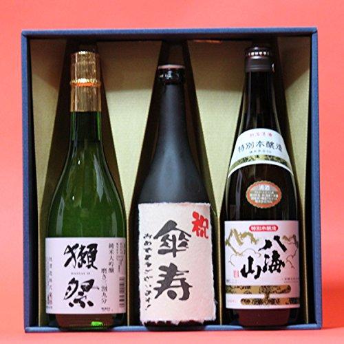 傘寿〔さんじゅ〕(80歳)おめでとうございます!日本酒本醸造+獺祭(だっさい)39+八海山本醸造720ml 3本ギフト箱 茶色クラフト紙ラッピング 祝傘寿のし 飲み比べセット