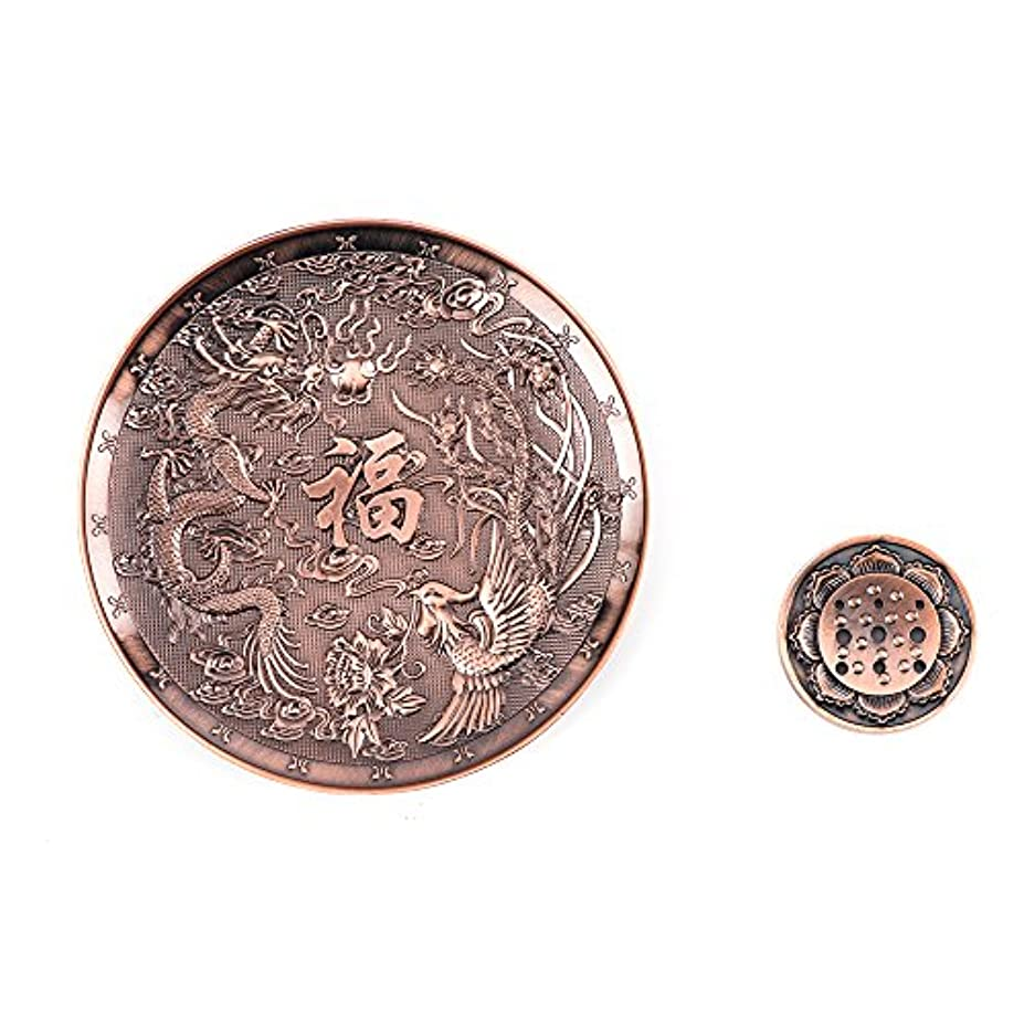 shanbentang Incenseホルダー、Stick Incense Burner with nine穴、銅Incense Ashキャッチャートレイ