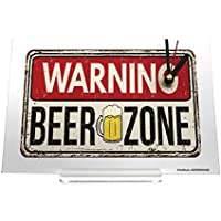 置時計 Desk Clock Warning Label Caution Beer zone Retro
