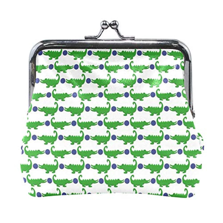 がま口 小銭入れ 財布 ワニ グリーン コインケース レザー製 丸形 軽量 人気 おしゃれ プレゼント ギフト 雑貨