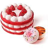 KUUQA スクイーズ 低反発 3個セット Squishy 子供 オモチャ ケーキ(ラージ) ドーナツ(スモール) ストラップ キーリング ストレス発散 香り付け 可愛い 誕生日 プレゼント