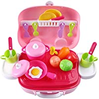 ruiyifごっこキッチン再生、20 Pieces Play Food For Kids With Case storage-playキッチンキッチン用品( Folk、Knief、ポット、料理、vegetbles )