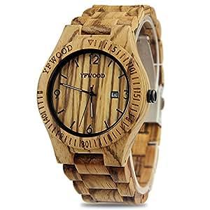 YFWOOD 木製腕時計 メンズに圧倒的な人気腕時計 優しい木の温もりを生かした腕時計 カレンダー付き 高品質のウッド時計 話題性 男性用 人気 … (シマウマ)