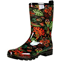 Colorxy Women's Waterproof Garden Rain Boots - Colorful Floral Printed Mid-Calf Garden Shoe Classic Short Wellies Rainboots