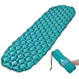 Hikenture Ultralight Sleeping Mat   Backpacking Sleeping Pad with Pillow-Compact Inflatable Camping Air Mattress Pad for Camping,Sleeping,Backpacking,Travel,Hiking,Hike Camp Air Pad (Army Green,Blue)