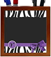 Rikki Knight Letter Y Purple Zebra Bow Monogram Design 5-Inch Tile Wooden Tile Pen Holder (RK-PH41763) [並行輸入品]