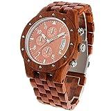 木製腕時計 ウッド 腕時計 メンズ アナログ腕時計 天然木 カレンダー付き 多針アナログ表示 夜光 生活防水機能 彫刻 クリスマスプレゼント 贈り物 (赤檀)