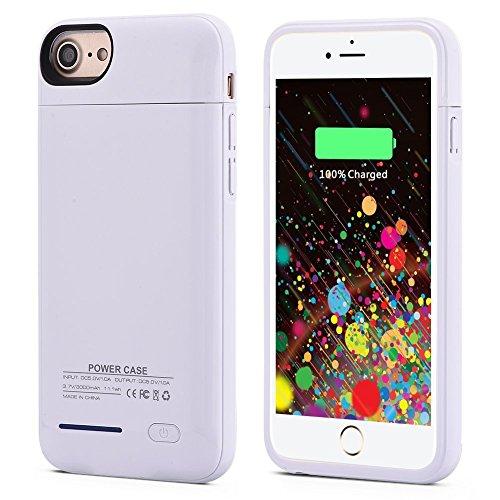 iSHAKO 4200mah バッテリー内蔵ケースiPhone6 plus/7 plus/8 plus用 ケース型バッテリー(ホワイト)