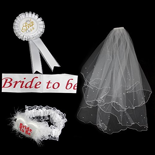 Bride to be Set for Bachelorette Includes Wedding VeilSatin SashRosette BadgeGarter [並行輸入品]