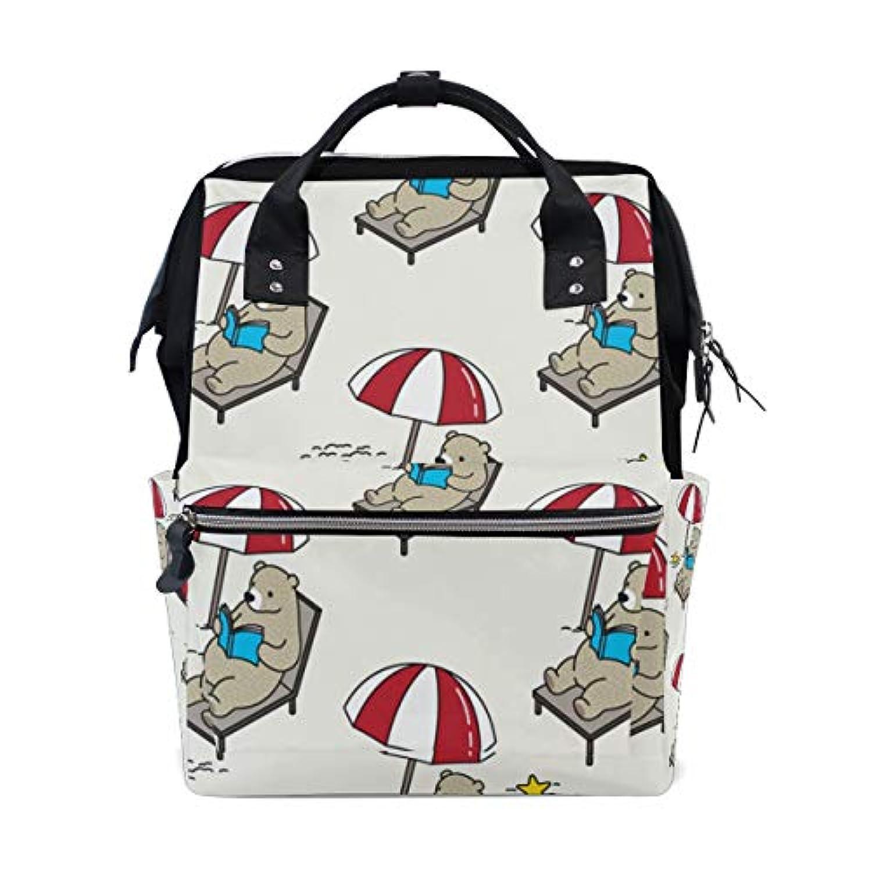 ママバッグ マザーズバッグ リュックサック ハンドバッグ 旅行用 ベア柄 ビーチ ファション