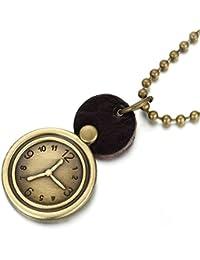 Aooazジュエリー 本革メンズネックレス ペンダント クロック ゴールド ネックレス ペンダント 30x30MM パンク 好きなメッセージが刻印できる