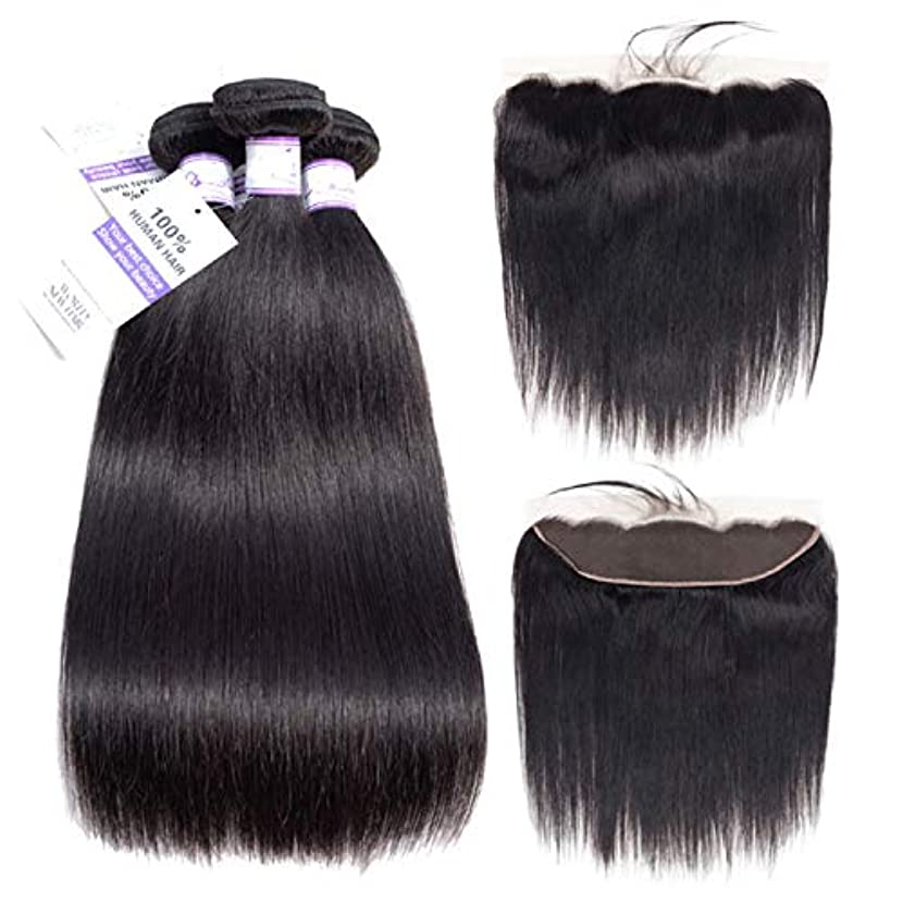 ブラジルストレートヘア3バンドル付き13 * 4レース前頭閉鎖髪織りバンドルレミー人間の髪の毛の拡張子 (Length : 22 24 26 Cl20)