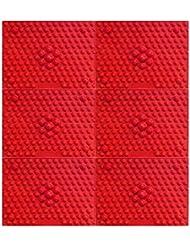 疲れsirazu(足踏みマット)ピンク6枚セット (赤)