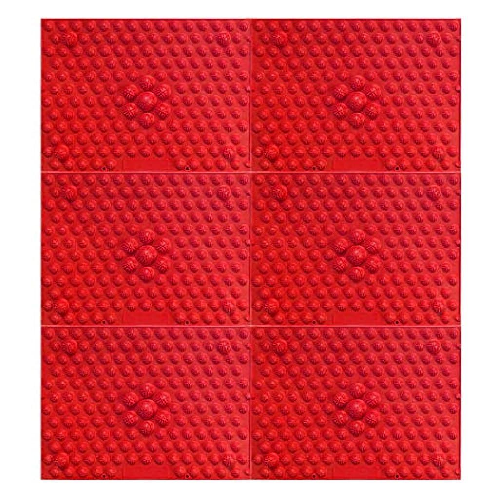 ロマンチックアラスカ宝石疲れsirazu(足踏みマット)ピンク6枚セット (赤)