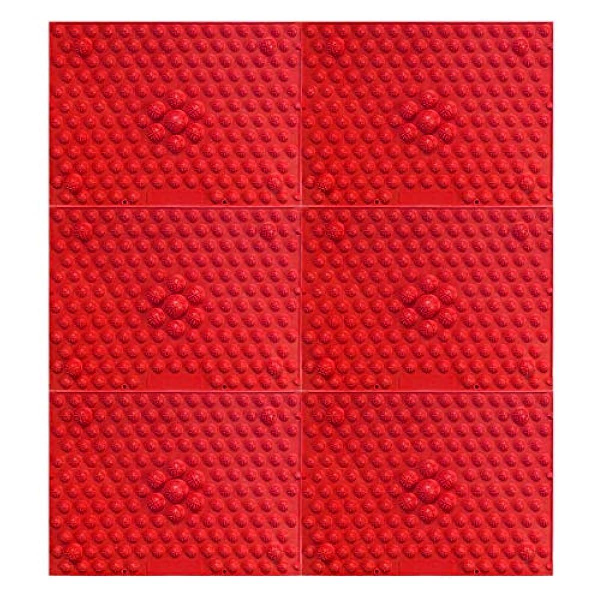 壮大なスペイン語長々と疲れsirazu(足踏みマット)ピンク6枚セット (赤)