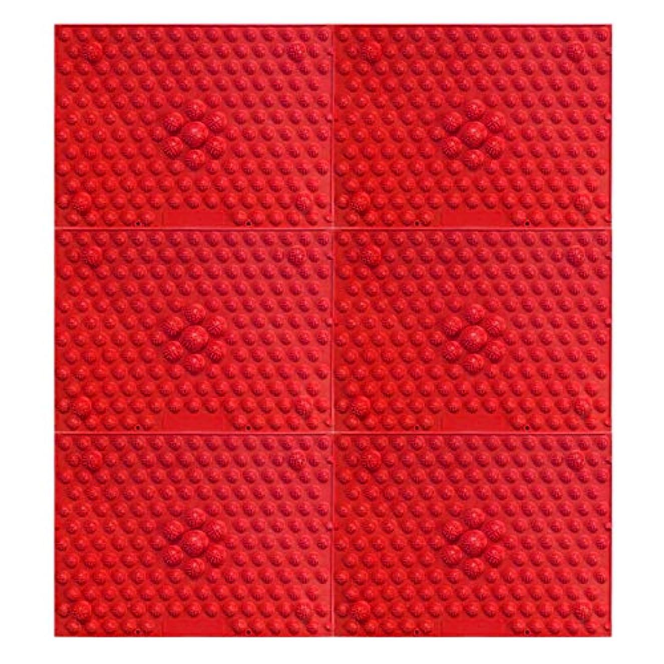 消防士接地却下する疲れsirazu(足踏みマット)ピンク6枚セット (赤)
