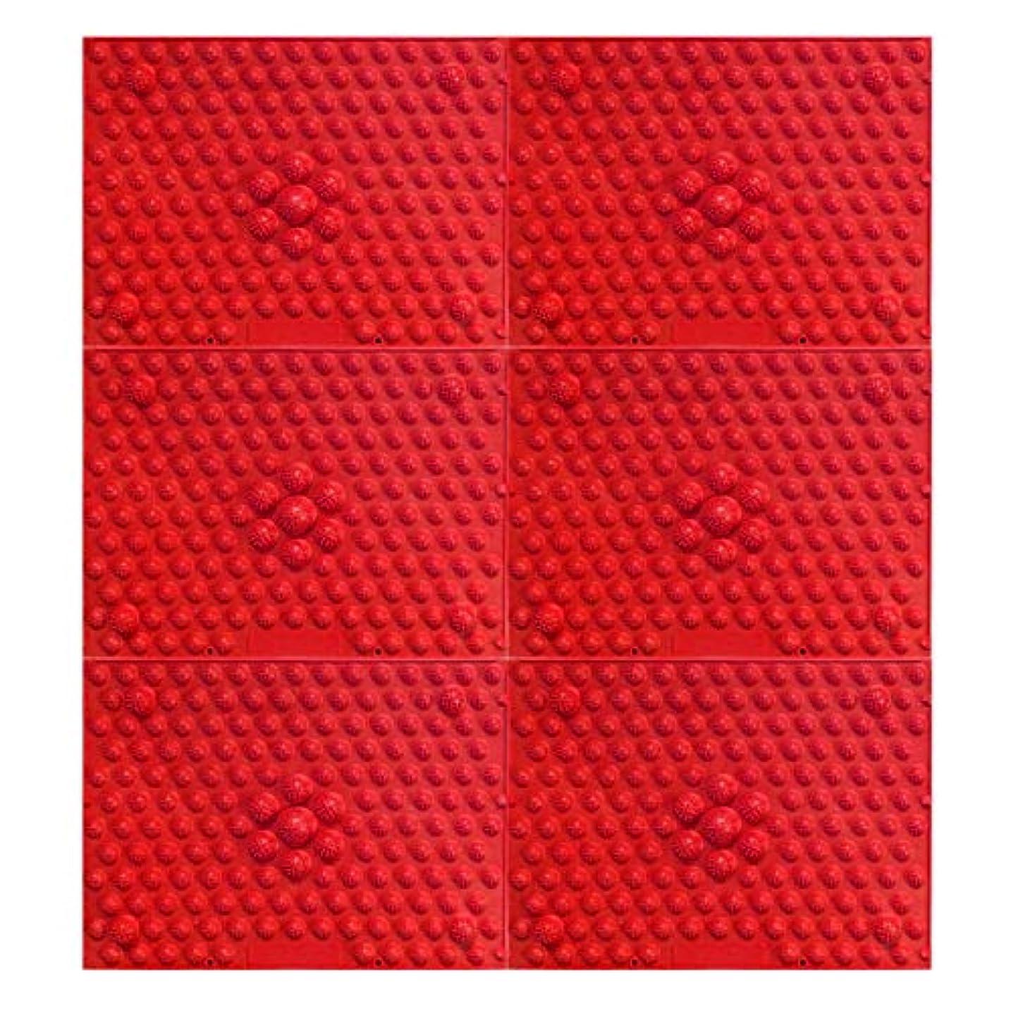 少年挨拶する本質的ではない疲れsirazu(足踏みマット)ピンク6枚セット (赤)