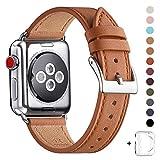 WFEAGL コンパチブル Apple Watch バンド,は本革レザーを使い、iWatch Series 5/4/3/2/1、Sport、Edition向けのバンド交換ストラップです コンパチブル アップルウォッチ バンド(42mm 44mm ,ブラウン バンド+シルバー 四角い バックル)