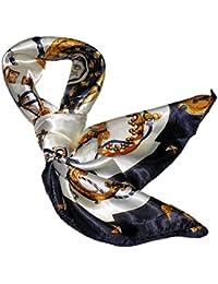 華麗な高級シルク調 花柄90角正方形大判スカーフ