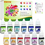 12 Colour Bath Bomb Soap Dye - Skin Safe Bath Bomb Colourant Food Grade Colouring for Soap Making Supplies, Natural Liquid Soap Colourant for DIY Bath Bomb Supplies Kit, Slime, Crafts - with Instructions