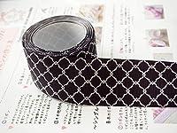 Sweet雑貨オリジナルリボン モロッカン柄(フラワー) 黒 幅38mm 4ヤード(約3.7メートル) *「リボンの作り方」両面カラー1枚付き * [並行輸入品]