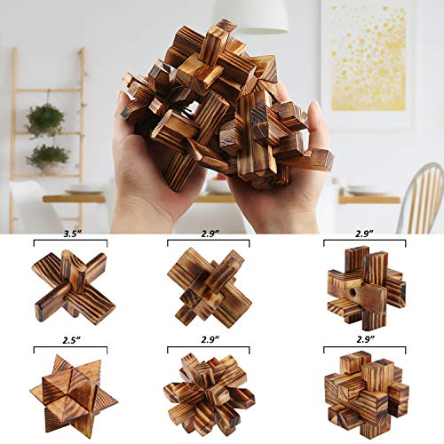 Brain Teasers 3D Wooden Puzzles Interlocking Blocks Educational Toys Mind Games IQ Challenge Test for Kids and Adults