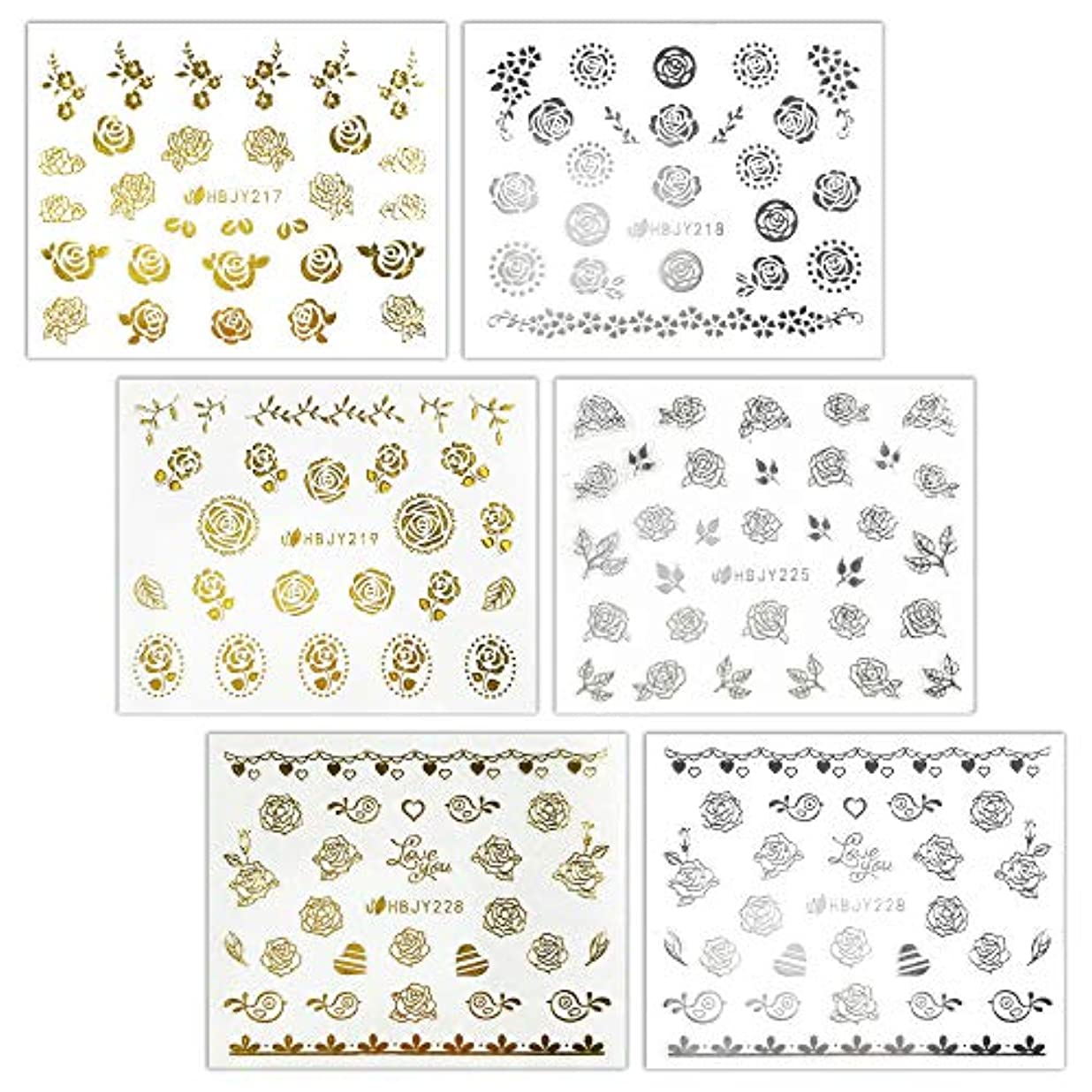 事次へおびえた【リュミエラ】6枚セット レジン ネイル シールJ【3種類×2色 各1枚】ゴールド シルバー いろんなバラ ネイルにも!
