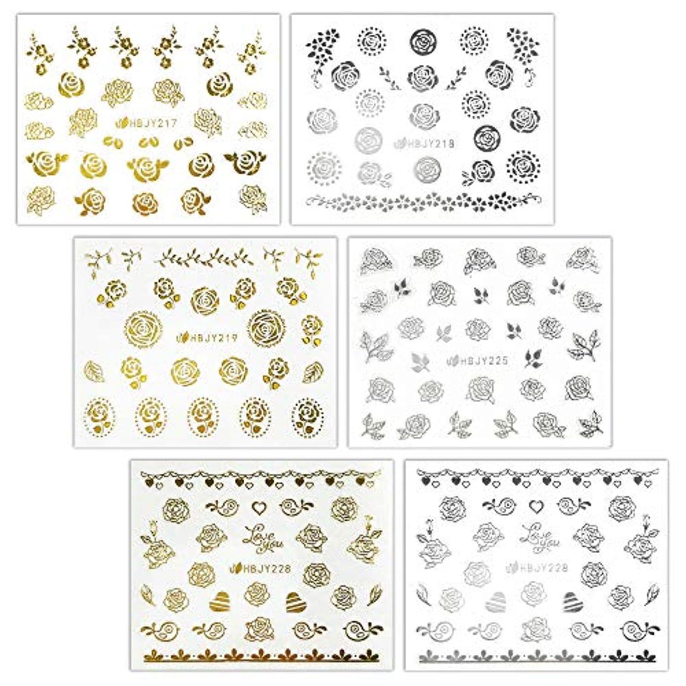 前進不正好意【リュミエラ】6枚セット レジン ネイル シールJ【3種類×2色 各1枚】ゴールド シルバー いろんなバラ ネイルにも!