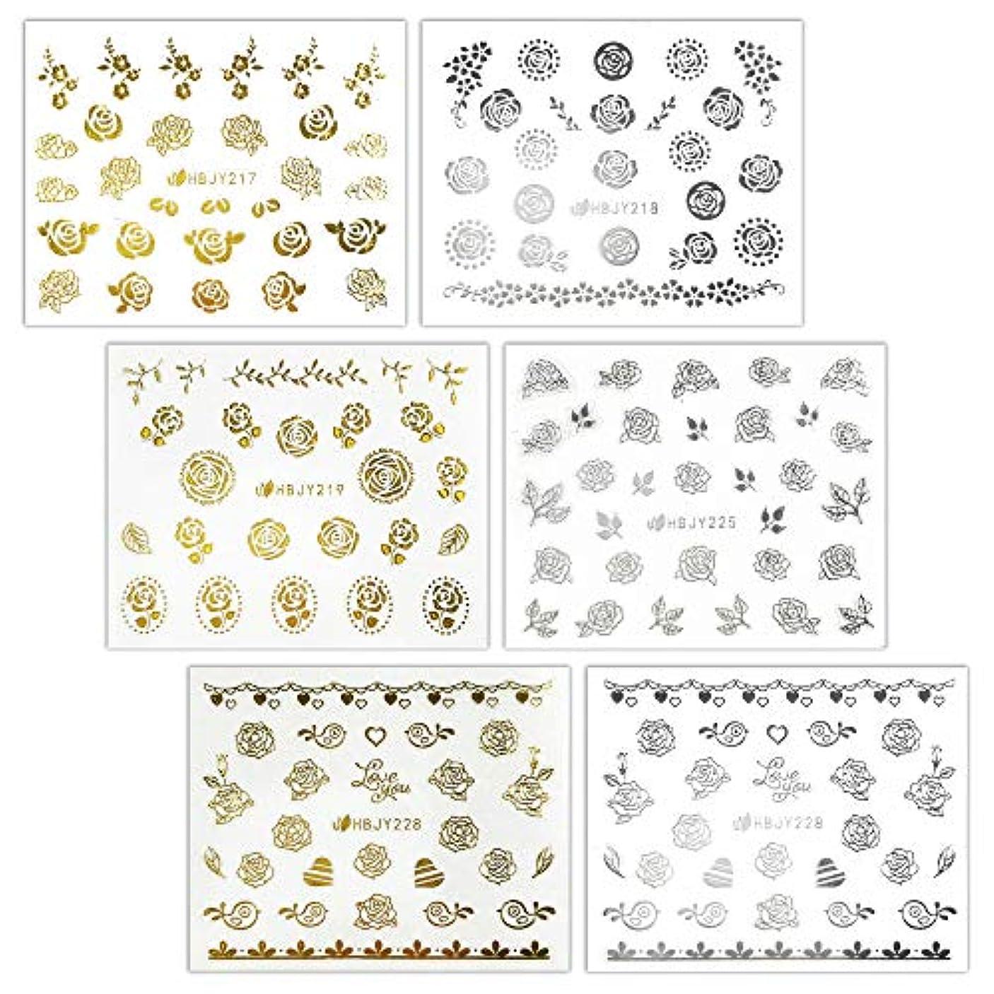 細分化する要件バルーン【リュミエラ】6枚セット レジン ネイル シールJ【3種類×2色 各1枚】ゴールド シルバー いろんなバラ ネイルにも!