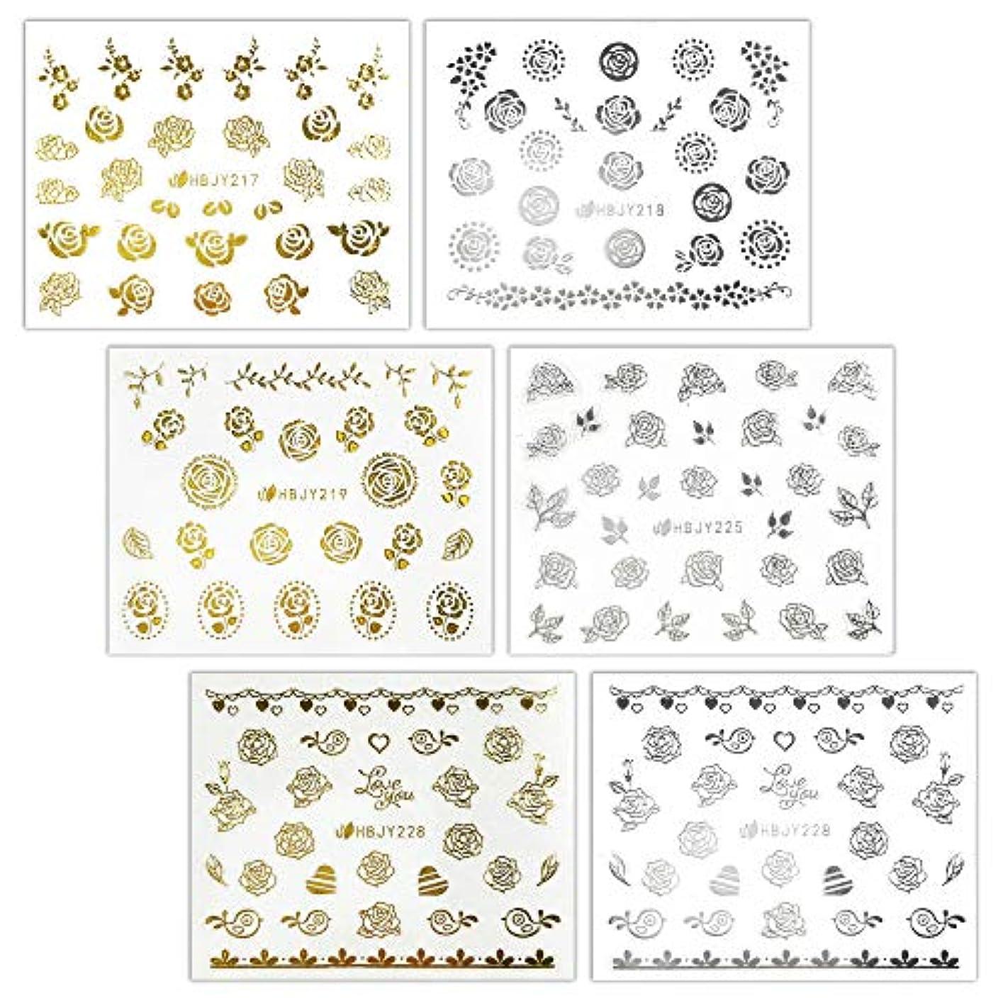 食器棚方法論結晶【リュミエラ】6枚セット レジン ネイル シールJ【3種類×2色 各1枚】ゴールド シルバー いろんなバラ ネイルにも!