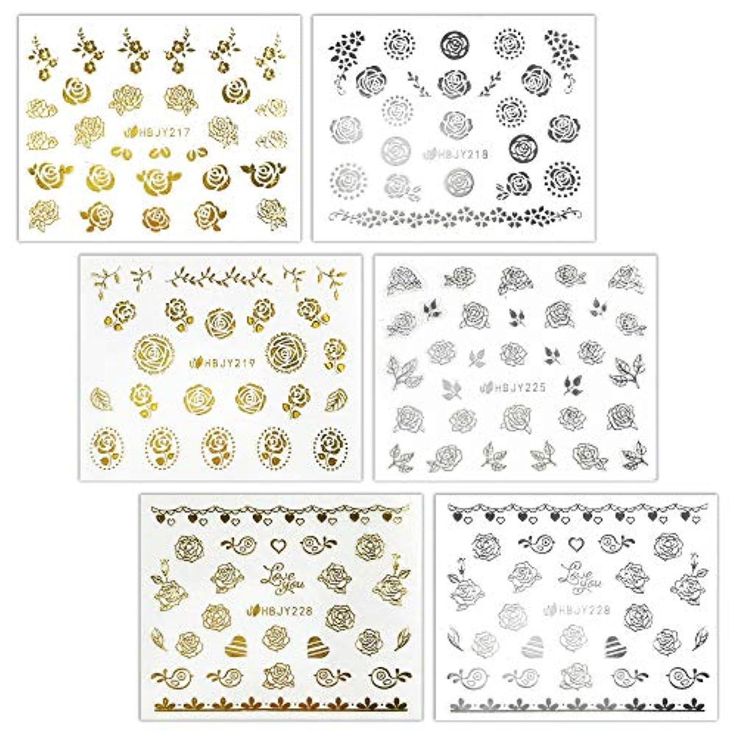 腐敗占める縫い目【リュミエラ】6枚セット レジン ネイル シールJ【3種類×2色 各1枚】ゴールド シルバー いろんなバラ ネイルにも!