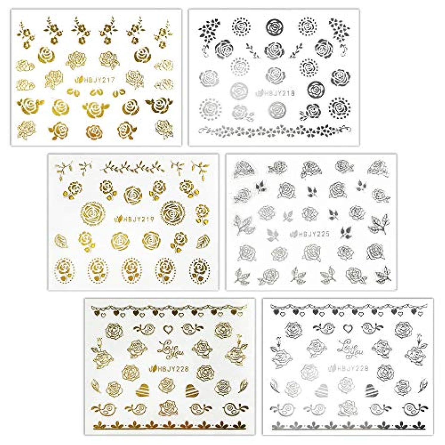 脅かす医療過誤排泄物【リュミエラ】6枚セット レジン ネイル シールJ【3種類×2色 各1枚】ゴールド シルバー いろんなバラ ネイルにも!