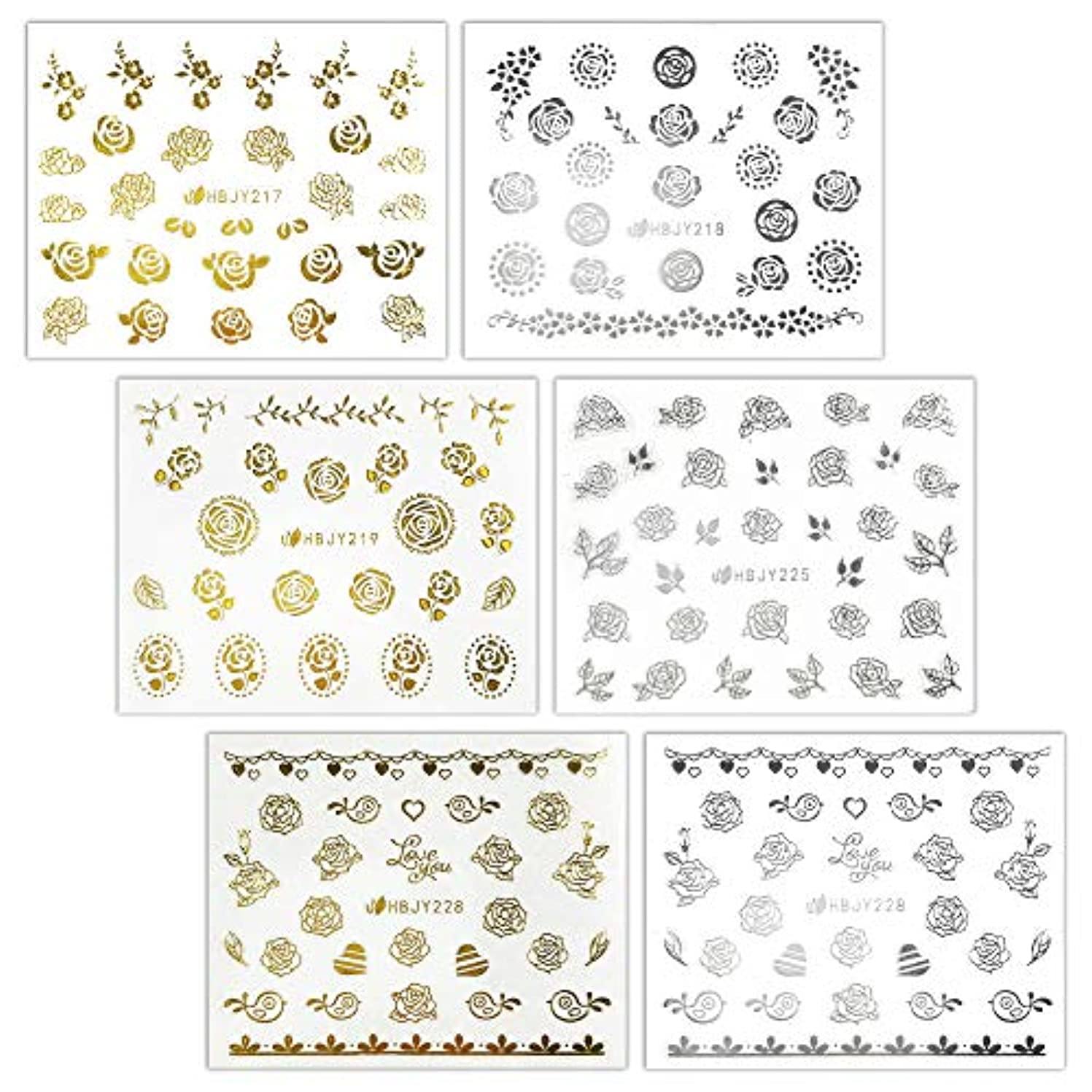 実用的不足姪【リュミエラ】6枚セット レジン ネイル シールJ【3種類×2色 各1枚】ゴールド シルバー いろんなバラ ネイルにも!