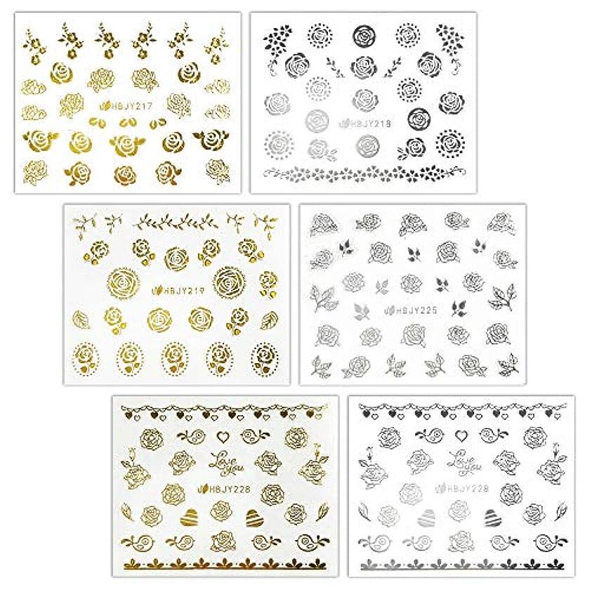 国内のイーウェル面白い【リュミエラ】6枚セット レジン ネイル シールJ【3種類×2色 各1枚】ゴールド シルバー いろんなバラ ネイルにも!
