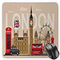 ロンドンマウスパッド、有名なイギリスのランドマークモニュメントコレクション観光旅行先、標準サイズの長方形滑り止めラバーマウスパッド、多色