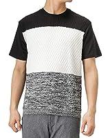 Real Standard(リアルスタンダード) マエミゴロニットキリカエTシャツ 半袖Tシャツ クルーネック サマーニット 92-7203P-RM メンズ ブラック×ホワイト:L