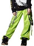 (ショウタイム) SHOOWTIME ダンスパンツ 光沢素材 ルーズフィット サスペンダーパンツ stdt003 ライムグリーン M