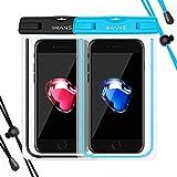 『2枚入』iWANS 防水ケース スマホ用防水ポーチ 防水等級IPX8 高感度PVCタッチスクリーン 夜間発光 お風呂 温泉 潜水 5.5インチまでのiPhoneとAndroidスマホに対応可能 (BLACK & BLUE)
