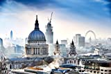 ST PAULS CATHEDRAL LONDON SKYLINE観覧車フォトアートプリントポスター36x 24インチ