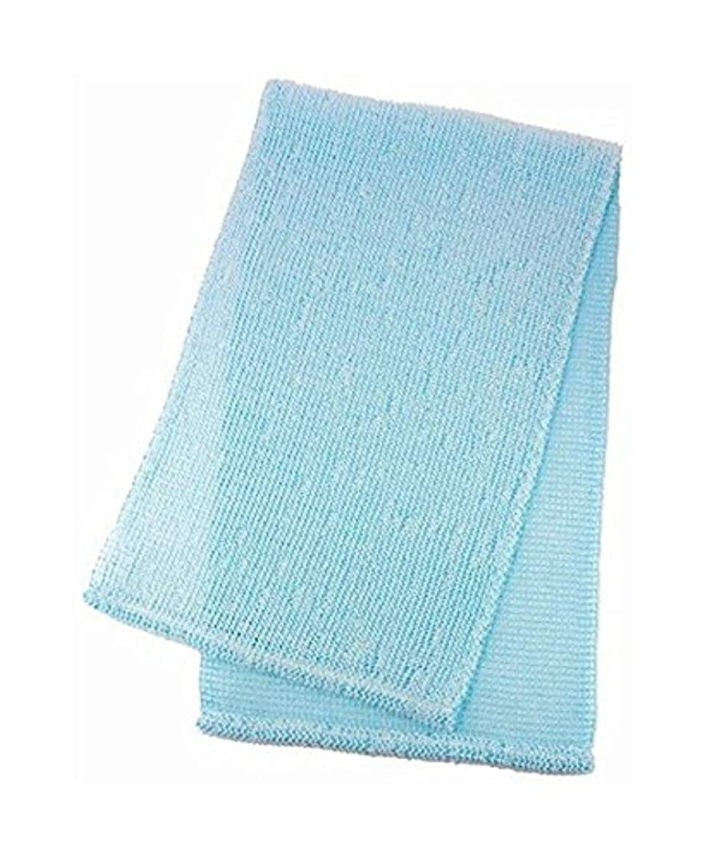 発表する縫い目最後のマーナ ボディタオル 「泡工場」 ブルー B557B
