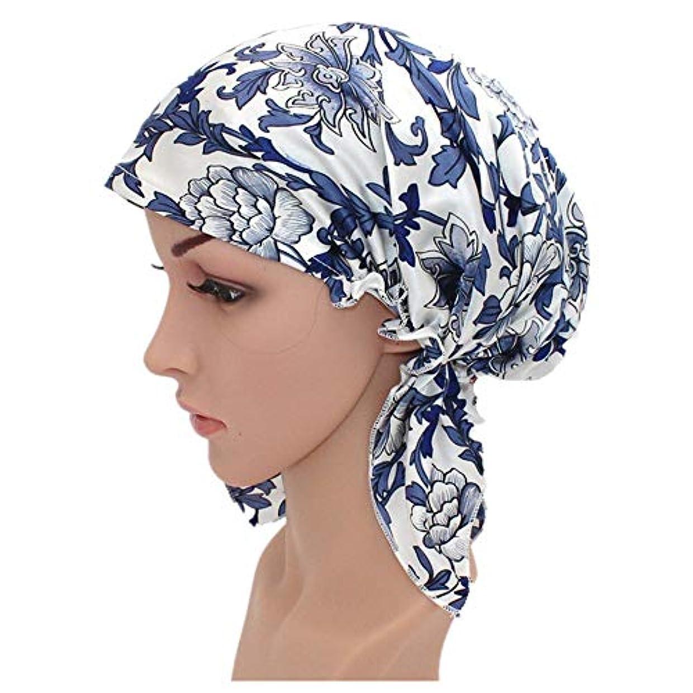 幻影タオル麻酔薬弾性スリーピングキャップ 女性のための毛の美の調節可能な伸縮性があるリボンのボンネットのための絹の睡眠の夜間帽子の花の印刷パターン (色 : 青, サイズ : 50cm)