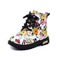 Tovadoo 子供靴 ブーツ 紐靴 イギリス風 女の子 秋冬 多色 花柄 裏ファー 厚手 暖かい 滑り止め おしゃれ ファッション 保育園 小学校 旅行