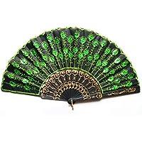 Beautiful Peacock Pattern Style Women Lady's Silk Hand Fan Folding Fan With Green Sequins