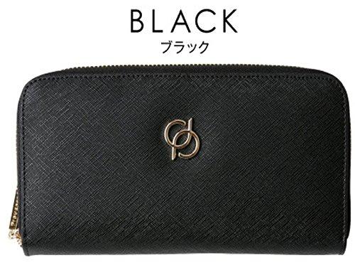 長財布 レディース 財布 型押し本革 ロングウォレット (32ブラック)