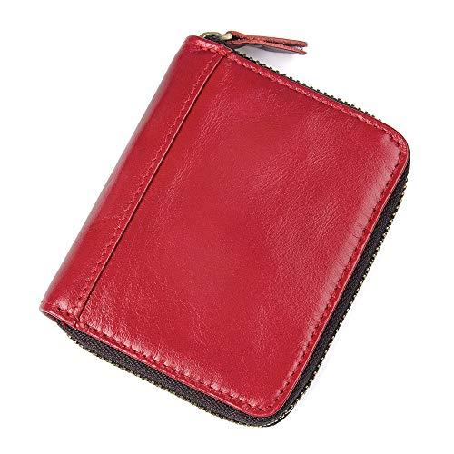 Emostya 財布 カードケース 二つ折り 本革 高級牛革 カード20枚 小銭入れ スキミング防止 メンズ レディース レッド