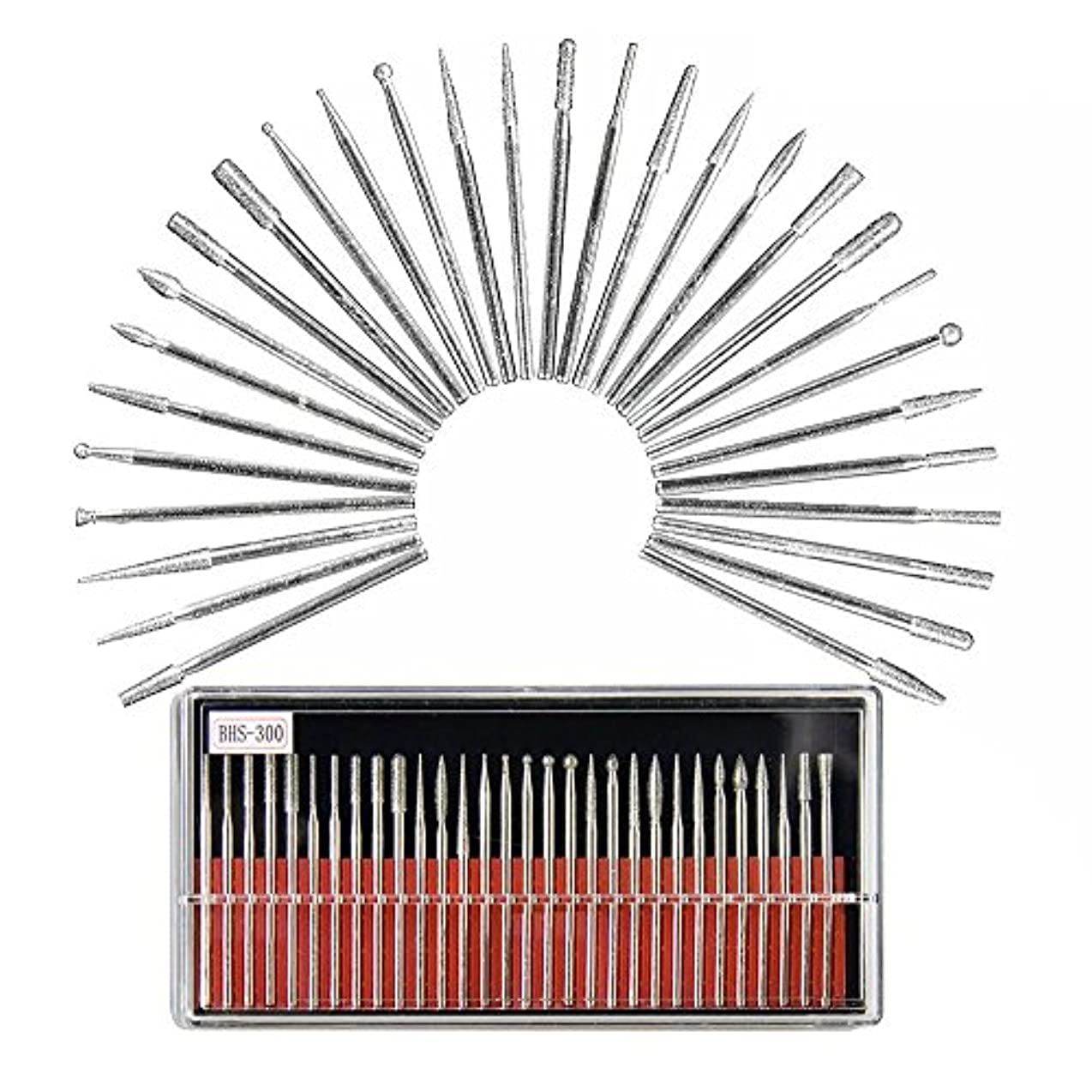 マニアック悪名高いあたたかいネイルマシーン用 軸2.35mm 取り替えビットセット ミニルーター用 高品質 耐食 合金 各種類 30本入り 箱付 研磨 ネイルケア ネイルアート 角質処理 ツール ネイルマシーン 工具