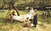 ¥5K-200k 手書き-キャンバスの油絵 - 美術大学の先生直筆 - An Apple gathering rural family Frederick E Morgan 絵画 洋画 複製画 ウォールアートデコレーション -サイズ08