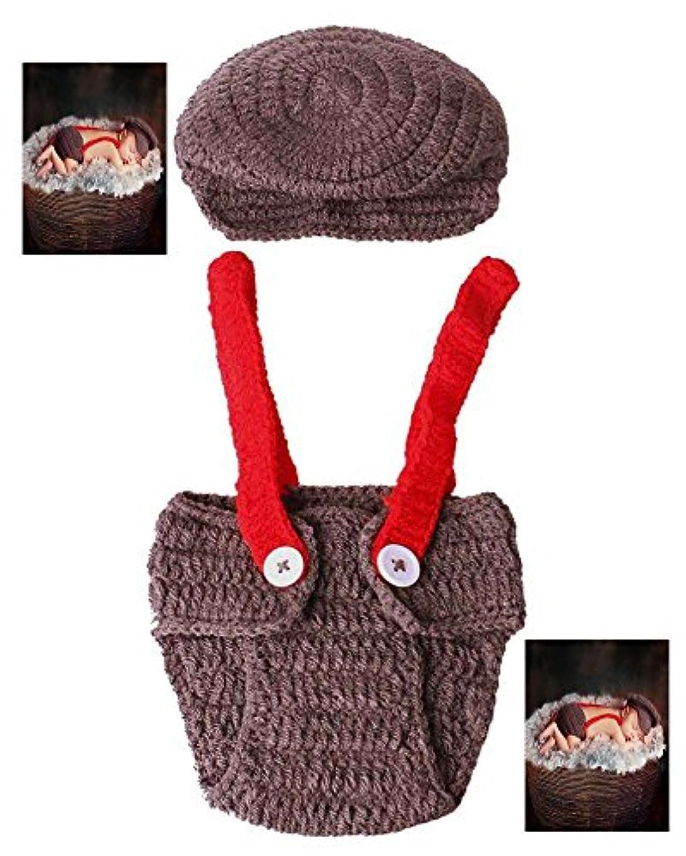 時間仲間慢手作りニットベビー帽子パンツアイテム新生児の赤ちゃん女の子男の子服かぎ針編みのニットコスチューム写真写真の小道具衣装