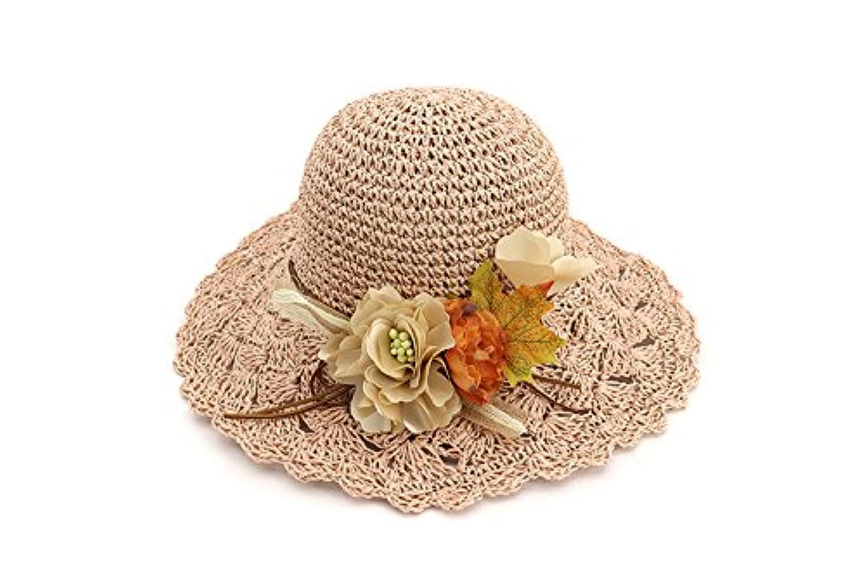 Yaojiaju 夏のストロー帽子、ファッショナブルな夏の花ストロー日帽子ロールブリム日焼け止め幅広い女性のための旅行帽子 (色 : Pink)